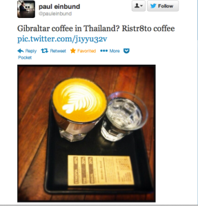 Gibraltar coffee in Thailand