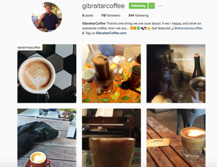 Gibraltar Coffee - IG account announcement https://www.instagram.com/gibraltarcoffee/